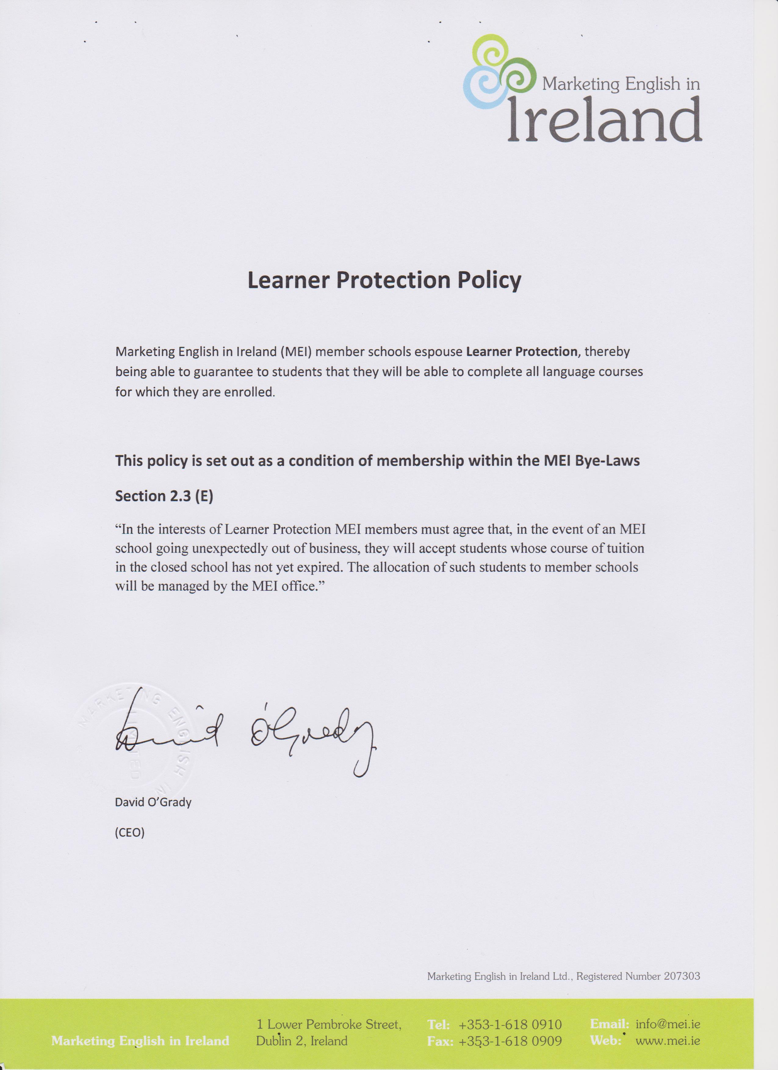 terms and conditions cork english academy mei schools also espouse learner protection