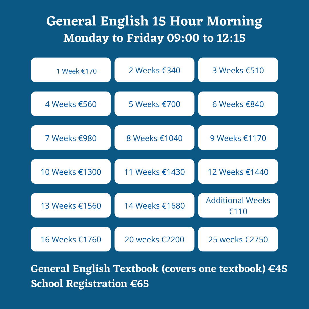 General English 15 Hour Morning Student Price List
